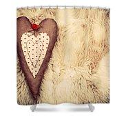 Vintage Handmade Plush Heart Pillow On The Soft Blanket Shower Curtain
