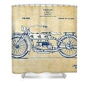 Vintage Harley-davidson Motorcycle 1919 Patent Artwork Shower Curtain