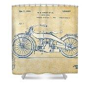 Vintage Harley-davidson Motorcycle 1924 Patent Artwork Shower Curtain by Nikki Smith