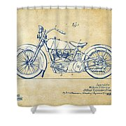 Vintage Harley-davidson Motorcycle 1928 Patent Artwork Shower Curtain by Nikki Smith