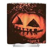 Vintage Horror Pumpkin Head Shower Curtain