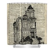 Vintage House Over Dictionary Page Shower Curtain