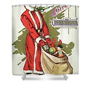 Vintage Illustration Of A Girl In Santa Claus Suit With Bag Christmas Toys Shower Curtain