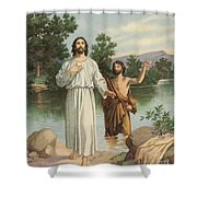 Vintage Illustration Of The Baptism Of Christ Shower Curtain