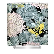 Vintage Japanese Illustration Of A Hydrangea Blossoms And Butterflies Shower Curtain