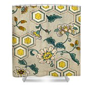 Vintage Japanese Illustration Of Blossoms On A Honeycomb Background Shower Curtain