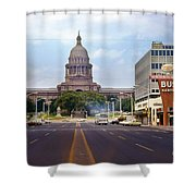 Vintage July 1968 View Looking Up Congress Avenue To The Texas State Capitol Shower Curtain