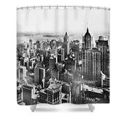 Vintage Lower Manhattan Skyscraper Photo - 1913 Shower Curtain