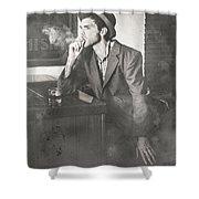 Vintage Man In Hat Smoking Cigarette In Jazz Club Shower Curtain