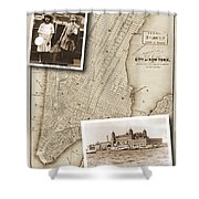 Vintage Map Ellis Island Immigrants Shower Curtain