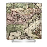 Vintage Map Of America - 1720 Shower Curtain