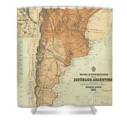 Vintage Map Of Argentina - 1882 Shower Curtain