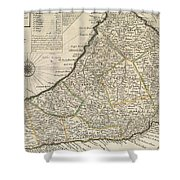 Vintage Map Of Barbados - 1736 Shower Curtain
