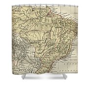 Vintage Map Of Brazil - 1889 Shower Curtain