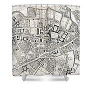 Vintage Map Of Cambridge England - 1690 Shower Curtain