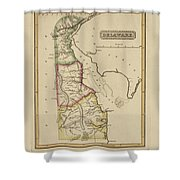 Antique Map Of Delaware Shower Curtain