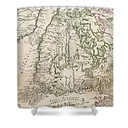 Vintage Map Of Finland - 1740s Shower Curtain