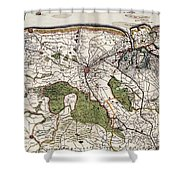 Vintage Map Of Flanders Belgium - 17th Century Shower Curtain