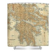 Vintage Map Of Greece - 1894 Shower Curtain
