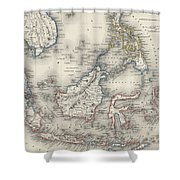 Vintage Map Of Indonesia And The Philippines Shower Curtain