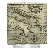 Vintage Map Of Italy And Greece - 1587 Shower Curtain