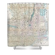 Vintage Map Of Jersey City And Hoboken  Shower Curtain