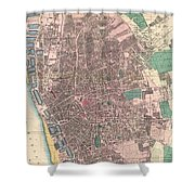 Vintage Map Of Liverpool England  Shower Curtain