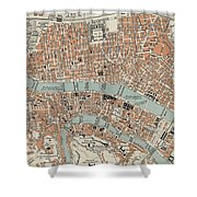 Vintage Map Of Lyon France - 1888 Shower Curtain