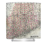 Vintage Map Of Maine  Shower Curtain