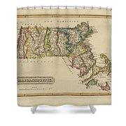 Antique Map Of Massachusetts Shower Curtain