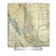Vintage Map Of Mexico - 1847 Shower Curtain