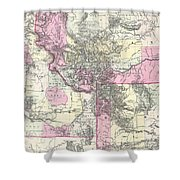 Vintage Map Of Montana, Wyoming And Idaho  Shower Curtain