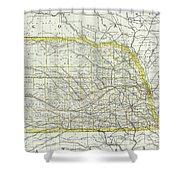 Vintage Map Of Nebraska - 1889 Shower Curtain