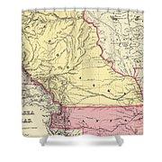 Vintage Map Of Nebraska And Kansas - 1856 Shower Curtain
