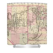 Vintage Map Of Nevada And Utah - 1880 Shower Curtain
