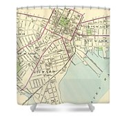 Vintage Map Of New Haven Connecticut - 1893 Shower Curtain