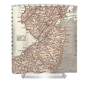 Vintage Map Of New Jersey - 1845 Shower Curtain