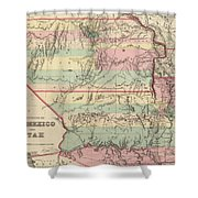 Vintage Map Of New Mexico And Utah - 1857 Shower Curtain