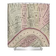 Vintage Map Of New Orleans - 1880 Shower Curtain