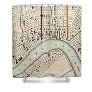 Vintage Map Of New Orleans Louisiana - 1845 Shower Curtain