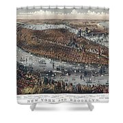 Vintage Map Of New York And Brooklyn Circa 1875 Shower Curtain