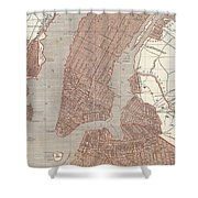 Vintage Map Of New York City - 1845 Shower Curtain