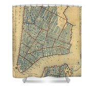 Vintage Map Of New York City - 1846 Shower Curtain