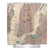 Vintage Map Of New York City - 1867 Shower Curtain