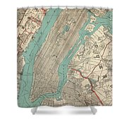 Vintage Map Of New York City - 1890 Shower Curtain