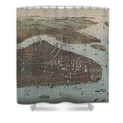 Vintage Map Of New York City - 1905 Shower Curtain
