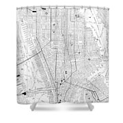 Vintage Map Of New York City - 1911 Shower Curtain