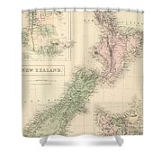 Vintage Map Of New Zealand - 1854 Shower Curtain