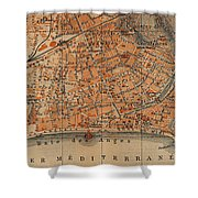 Vintage Map Of Nice France - 1914 Shower Curtain