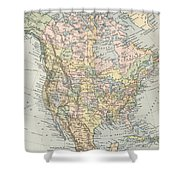 Vintage Map Of North America - 1892 Shower Curtain